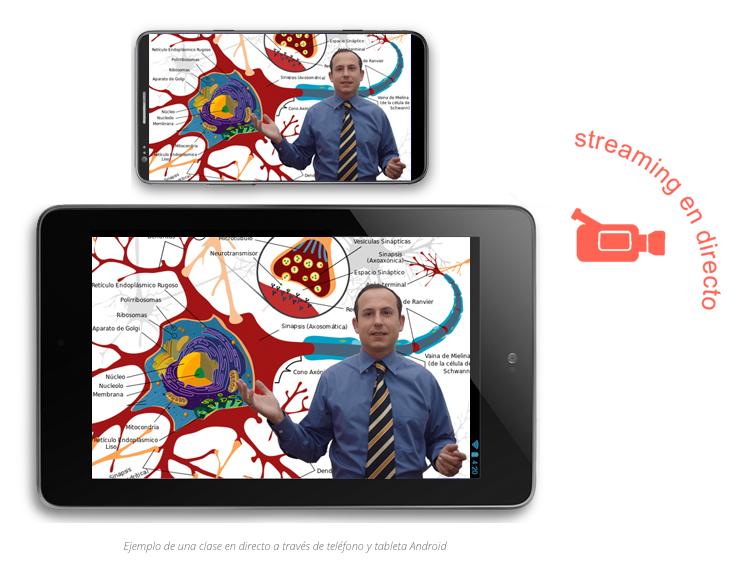 Interface streaming directo telefono y tableta